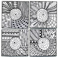 Four 2inch tiles. Pigma pen on bristol board.  Each square can be moved around to create a different overall pattern.