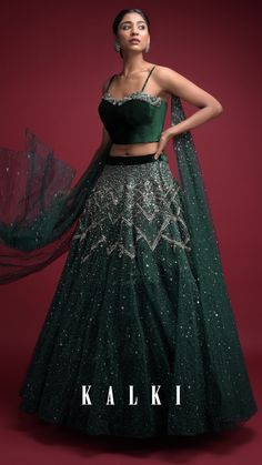 Emerald Green Lehenga In Hand Crafted Net And Velvet Crop Top With Attached Net Dupatta Online - Kalki Fashion Indian Wedding Gowns, Indian Bridal Outfits, Indian Designer Outfits, Wedding Dresses For Girls, Bridal Dresses, Bridal Lehenga, Pakistani Lehenga, Lehenga Dupatta, Saree Gown
