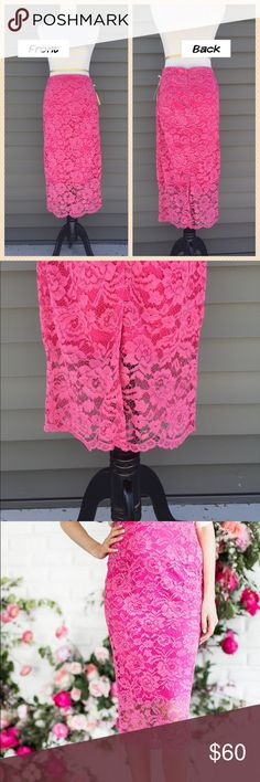 NWT Lace Pencil Skirt - Medium NWT Midi Pink Lace Pencil Skirt in size medium from designer Rachel Parcell. Beautiful floral Lace pattern - fully lined except for bottom 7'' which adds a really nice flair. Waist is 31'' around , skirt is 32 inches long. designed to wear above the hips - zipper closure. Dry Clean only. Rachel Parcell Skirts Pencil