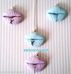 Handmade Pastel Goth Kitsch Novelty gift Geek jewellery,lips piercing necklace
