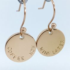 Handstamped drop earrings in silver, rose and yellow gold finish (stainless steel) - $35AUD - allure style