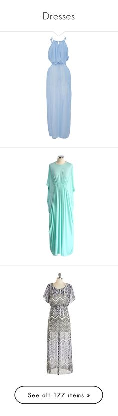 """""""Dresses"""" by ilovecats-886 ❤ liked on Polyvore featuring dresses, blue, pleated maxi dress, beach maxi dress, maxi dress, blue halter top, light blue maxi dress, loose fitting dresses, maxi slip and batwing dress"""