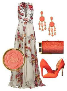 """Coral"" by nancymedeiros on Polyvore featuring Zuhair Murad, Ted Baker, Tom Ford, Karen Kane and Milani"