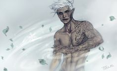 "elidexlorcan: ""pablob-: ""Full-power Rowan Whitethorn!! This started as a simple sketch until the moment I realized Rowan has TONS of tattoos covering his body and lost myself in it *laughs* I was just playing around with some effects, I swear! Rowan..."