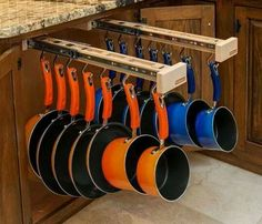 Organized pots and pans.