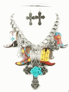 Cross and Boots Necklace Set at Cowgirl Blondie's Dumb Blonde Boutique ~ Looks great with a tank & a tan ;)