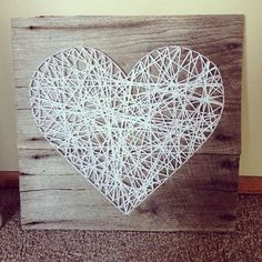String art is very popular and fun. As a wall décor it can be very stylish and cool for your living room.We present you 30 creative diy string art ideas. String Art Diy, Diy Wall Art, Diy Art, String Art Heart, Wall Decor, String Crafts, Heart Wall, Wood Crafts, Diy And Crafts