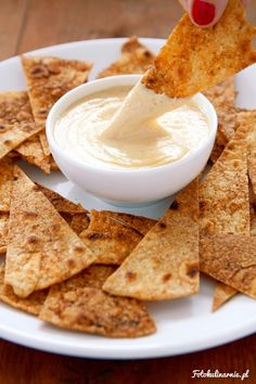 Cheddar and Emmental Spicy Cheese Dip with Homemade Tortilla Chips.