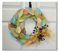 Great colors on this fall wreath using Jillibean Soup papers