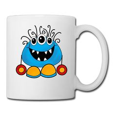 White Cartoonn Monster Ceramic Mug Cup 11oz Unisex Printed On Both Sides >>> To view further, visit now : Cat mug