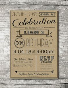 "DIY Printable 30th, 40th, 50th, 60th, etc. Birthday Invitation PDF, 5""x7"", Digital PDF File, Customizable"