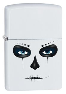 Inspired by the Mexican celebration of Day of the Dead, this White Matte lighter features the dark face of a skull.
