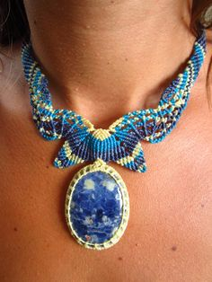Sodalite Macrame necklace handmade with by PapachoCreations