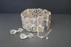 Unique handmade sterling silver fretwork bangle with prassiolite briolette earrings Handmade Silver Jewellery, Handmade Sterling Silver, Silver Jewelry, Fine Jewelry, Cuff Bracelets, Bangles, Unique, Lace, Earrings