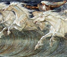 """The Horses of Neptune"" Neptune (Poseidon) guiding his horses on water. Detail of a painting by artist Walter Crane Mermaid Drawings, Mermaid Art, Greek And Roman Mythology, Greek Gods, Greek Titans, Mythology Books, Mermaid Sculpture, Walter Crane, Run For The Roses"