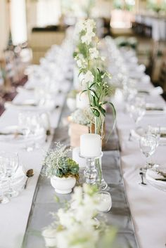 Green, grey & white table decor | SouthBound Bride | http://www.southboundbride.com/contemporary-rustic-wedding-at-zakopane-country-lodge-by-louise-vorster-nadea-riaan | Credit: Louise Vorster