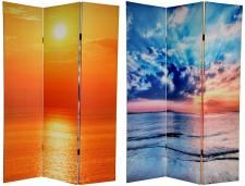 Beach Theme Decorating, sunset over the ocean photo printed room divider screen