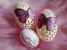 Kraslice - Husí - Chytila jsem na vajíčku motýla..