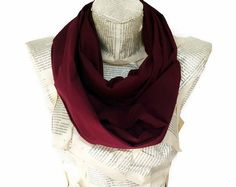 Cotton Claret Red Scarf Colorful Infinity Scarf by HeraScarf, $12.90