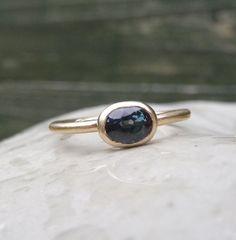 Gold sapphire ring 0.50ct blue sapphire by karenjohnsondesign, £235.00