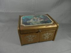 Vintage Musical Jewelry Box Storage Organizer Gold Florentine Keepsake Renaissance Lovers  Japan by WesternKyRustic on Etsy