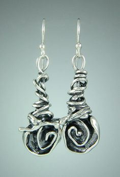 5194e6d85 72 - Sterling Silver Rose Earrings on Wrap Vine. Sherry Tinsman Metalsmith
