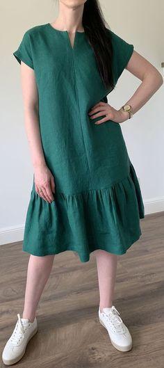 green v neck cotton blended Ruffles summer women dress green v neck cotton blended Ruffles summer women dress Linen Dresses, Modest Dresses, Cotton Dresses, Cute Dresses, Casual Dresses, Simple Dresses, Linen Dress Pattern, Dress Patterns, African Fashion Dresses