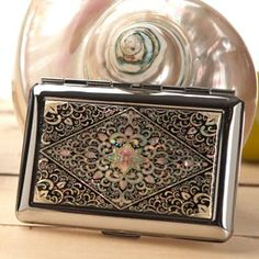 Mother of Pearl Cigarette Case with Arabesque Design