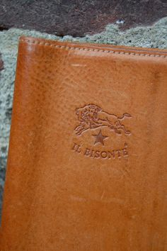 vintage Il Bisonte small leather notebook cover // by expvintage