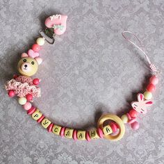 Personalized Pacifier Clip with wooden Ring Baby toy nipple