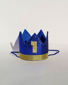 Baby Boy First 1st Birthday Party Crown in Royal Blue and Gold
