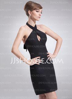 Sheath Halter Short/Mini Chiffon Cocktail Dress (016008731)