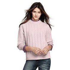 Lands' End Canvas Women's Crew Neck Sweater, L, Dusty Orchid  Special Offer: $35.97  344 Reviews Its simple shape is sort of boyfriend like. It isn't nipped at the waist or tricked out in any way – which makes the super soft merino/cashmere yarns the star....