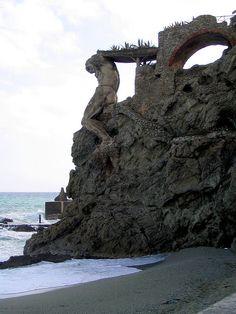 Remains of a statue in Monterosso al Mare