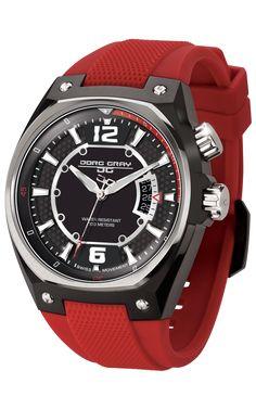 Jorg Gray JG8300-12 Men's Watch Black Dial Red Silicone Strap Swiss Movement
