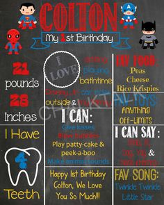 Superhero Birthday Chalkboard  Superhero by ChalkTalkDesigns