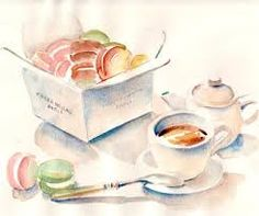 Image result for watercolor+macarons