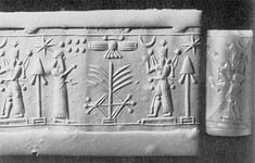 Rose quartz cylinder seal from the Neo-Assyarian period ca. 900-730 B.C. The worshipper points to the sacred tree below the winged disk of Assur. The god is on the platform. The seven globes in the field represent the Pleiades. The tasseled spade is a symbol of the god Marduk. H. 3.13 cm.; diam. 1.42 cm. Gorelick collection.