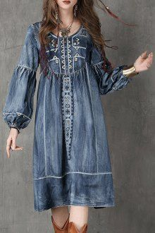 Bleach Wash Embroidered Denim Dress
