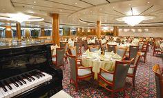 Deck 5: Fantasia Restaurant (540 seats) Costa Victoria, Deck, Restaurant, Table Decorations, Home Decor, Fantasy, Decoration Home, Room Decor, Front Porches