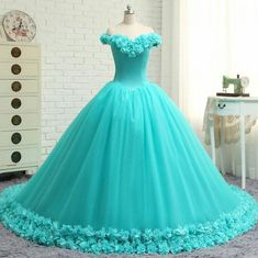Buy YQLNNE Vestido Debutante Gowns Ball Gown Quinceanera Dresses Off the Shoulder Flowers Sweet 16 Dress Vestidos De 15 Anos Blue Ball Gowns, Ball Gowns Prom, Party Gowns, Ball Dresses, Evening Dresses, Prom Dresses, Sweet 16 Dresses, Cute Dresses, Beautiful Dresses