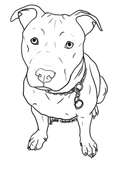 Free Pit Bull Line Art 7 by Wolfie-Undead