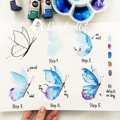 Learn to draw butterfly, instruction in five steps for beginners, Mali . watercolor painting Learn to draw butterfly, instruction in five steps for beginners, Mali Watercolour Tutorials, Watercolor Techniques, Watercolour Painting, Painting & Drawing, Drawing Tutorials, Drawing Ideas, Watercolors, How To Watercolor, Drawing Techniques