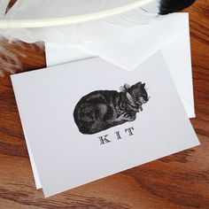 Cat Monogrammed or Personalized Stationery - Set of 12, 100% Cotton Savoy