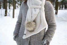 Dame, Winter Hats, Fashion, Pom Poms, White Fur, Off White Color, Open Set, Headscarves, Accessories