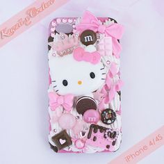 This+listing+is+for+a+custom+handmade+iPhone+4/4S+Decoden+Case+--+A+clear+acrylic+back-case+drizzled+with+special+sweet+strawberry+and+chocolate+frosting+and+topped+with+white+whipped+cream,+a+big+Hello+Kitty+head,+and+the+sweetest+of+treats!+This+unique+&+one+of+a+kind+case+is+perfect+for+anyone...