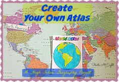 Create Your Own Atlas – A High School Geography Project A great way to learn about maps & geography is to create your own atlas. This is for HighSchool World Geography but could easily be adapted for other ages. Geography Activities, Geography Lessons, Teaching Geography, Human Geography, World Geography, Teaching History, History Education, Geography Worksheets, Dinosaur Activities