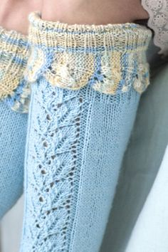 """""""Ice cream kiss"""" lace socks The lace border on these socks features the same cool blue as the rest of the sock. Knitted from Novita Nalle, with Novita Nalle Taika on the border. Lace Knitting, Knitting Socks, Knit Crochet, Lace Patterns, Stitch Patterns, Knitting Patterns, Lace Socks, Lace Border, Slipper Socks"""