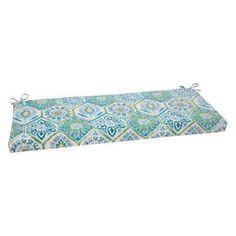 Pillow Perfect Summer Breeze 45 x 18 in. Bench Cushion Aqua Blue - 507378