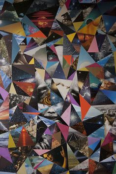 Collage, colours and triangles. Interesting geometric visual.